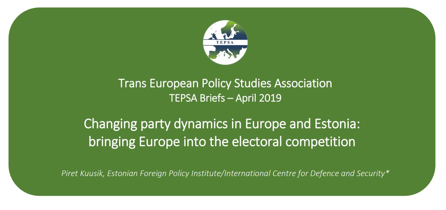 """Image for Piret Kuusik for TEPSA: """"Changing Party Dynamics in Europe and Estonia: Bringing Europe Into the Electoral Competition"""""""